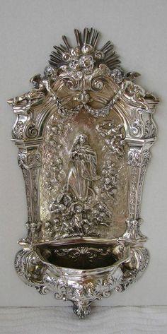 Antique German (Hanau) .800 standard silver repoussé  large holy water font.