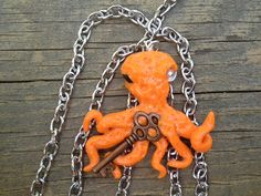 OOAK Skeleton Key Octopus Pendant with Chain on Etsy, $12.99 CAD