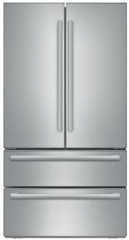 Bosch B21CL81SNS 36 Inch 4-Door Counter Depth French Door Refrigerator with Dual Evaporators, Humidity Control Drawers, Ice Maker, SuperCool Setting, SuperFreeze Setting, Adjustable Glass Shelving, Gallon Door Storage, Egg Container and Dual Freezer Drawers