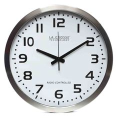 Time is on your side. With large numbers and metal hands, this oversized aluminum clock is easy to read, no matter where you position it. Perfectly sized for the kitchen, mud room, or any other busy area in your home. From La Crosse. Atomic Wall Clock, Retro Clock, Wall Clocks, Office Set, Office Decor, Tabletop Clocks, La Crosse, Office Accessories, Technology
