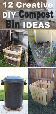 12 Creative DIY Compost Bin Ideas If you are a gardener, chances are you have thought about starting a compost bin. Pick one of these 12 creative DIY compost bin ideas, and get started! Diy Garden Projects, Outdoor Projects, Creative Garden Ideas, Garden Ideas Diy Cheap, Organic Gardening, Gardening Tips, Vegetable Gardening, Hydroponic Gardening, Gardening Services