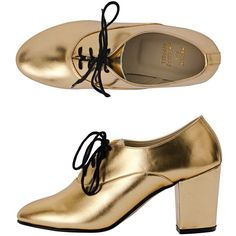 American Apparel - Metallic High Heel Bobby Leather Lace-Up Shoe ($105) ❤ liked on Polyvore featuring shoes, oxfords, american apparel oxford, polish shoes, metallic oxford shoes, laced shoes and high heel shoes