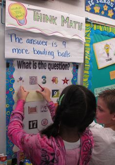 Think Math: Answer is on the board, students make question on sticky note and put it on their class number. Critical Thinking Activities for Fast Finishers. Math Stations, Math Centers, Teaching Math, Kindergarten Math, Teaching Ideas, Fun Math, Math Activities, Math Fact Fluency, Math Vocabulary