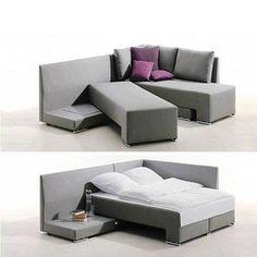 Sofá multifuncional que se transforma em cama facilmente.