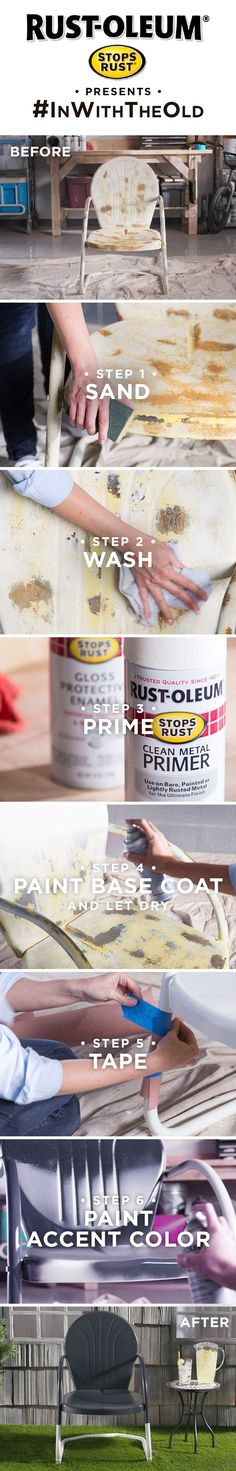 Give your rusty old chair a stylish new look with Stops Rust. Refinish chairs, patio furniture, and even bed frames with our trusted paints and primers. Whether a vintage piece of decor, dated furniture, rusty metal table or old chair, you can make it look new again with this easy DIY tutorial and Rust-Oleum Stops Rust. #inwiththeold