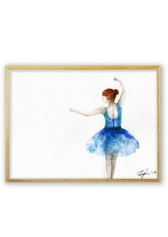 Original watercolor painting of a ballerina in a graceful dance pose by Cornelia Maria Tuglui   Paper Size: approximately A4 (21.0 x 29.7 cm / 8.2 x 11.7 in)    Landscape Orientation   Watercolors on 240g quality paper