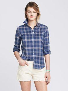 Soft-Wash Blue Plaid Boyfriend Shirt Product Image