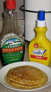 They taste just as good as whole wheat pancakes. They are lighter and fluffier than the galette. Okay, enough chit chat, let's get to the 'cakes.  Fluffiest Dukan Pancakes      2 tbsp. of oat bran (daily req)  1 tbsp. of nonfat powdered milk( it's essential, don't use regular milk)  1 egg  1 tsp. vanilla  1 tbsp of splenda  1/4 tsp. of baking powder    Mix ingredients together. I hope you know how to heat a pan for pancakes, so I won't include how to do that :-)