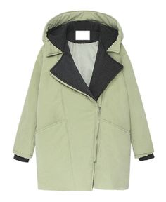 Lapel Collar Hooded Cotton-padded Coat