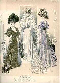 De Gracieuse, January 1908, Edwardian Fashion Plate with bride.