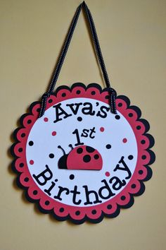 Ladybug Door Sign by PartyShopCreations on Etsy, $11.00