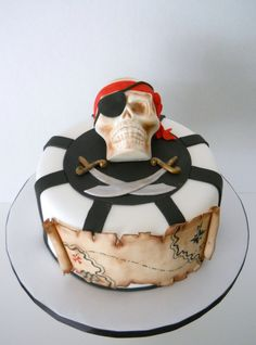 Pirate birthday cake with map