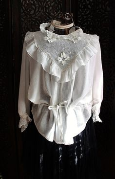 vintage cotton blouse & crocheted lace neck with by silkroaddream, $62.00