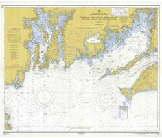 "Martha's Vineyard to Block Island Including Buzzards & Narragansett Bays - Massachusetts Map - 1958 - 80000 AC Nautical Map Reprint - Chart 1210. An historic nautical chart of Block Island Sound titled ""Martha's Vineyard to Block Island Including Buzzards & Narragansett Bays"" MA & RI published in 1934 by the U.S. Department of Commerce. It shows topography, water depths, and nautical features. Portraying the western half of Martha's Vineyard westerly to Block Island, Rhode Island…"
