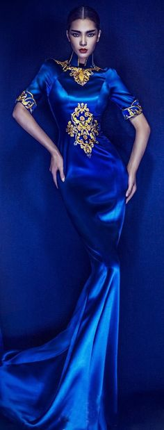 Noel Christmas New Years Eve! Perfect Cobalt BLUE and gold dress or gown - just imagine arriving at a party, dance or ball in this dress! Fashion Moda, Blue Fashion, Asian Fashion, Look Fashion, High Fashion, Fashion Outfits, Womens Fashion, Fashion Design, Ladies Fashion