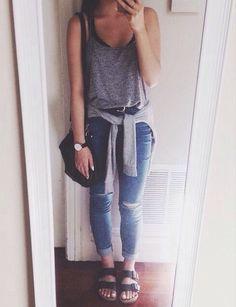 Tank, jeans, sandals <3