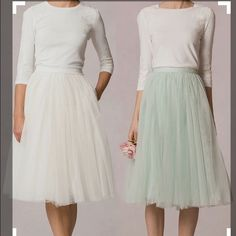 """HOST PICKTulle Midi Skirt Mint green tutu inspired Midi Skirt. Was purchased Brand New from posh, was worn twice, I no longer have a need for this skirt. In perfect condition, fully lined elastic waistband, skirt length measures 27"""" from top of waist to bottom of hem. Size is small, fits true to size. Skirt has 3 layers of gauzy fabric. Great addition to any spring wardrobe. No trades. Model upon request. Cover Shot courtesy of Pinterest. Skirts Midi"""