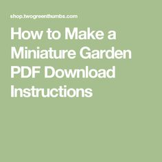 How to Make a Miniature Garden PDF Download Instructions