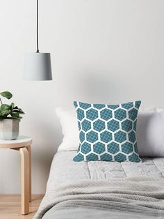 Teal cushion geometric cushion Hexagon decor Teal throw