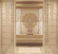 Mandir design - Marble mandir with jaali work. Temple Room, Home Temple, Small Room Interior, Home Interior, Interior Design, Altar, Temple Design For Home, Mandir Design, Pillar Design