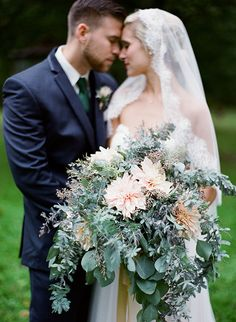 Lush Bouquet with Greenery and Dahlias | Brides.com