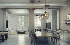 Industrial loft, home decor, interior design. // Diseño de interior loft estilo industrial