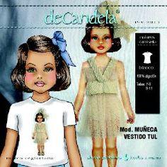 "Camiseta ""Muñeca vestido tul"" www.decandela.es"