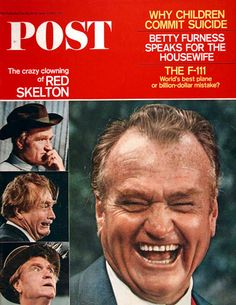 1967 original vintage Saturday Evening Post magazine cover only featuring the many faces of funny man Red Skelton.