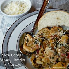 Slow Cooker Creamy Tortellini & Sausage