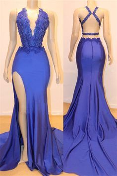 Sexy V-neck Sexy Open back Side Slit Prom Dresses Cheap ,Elegant Royal Blue Mermaid Beads Lace Evening Gowns CR 796 Prom Girl Dresses, Prom Outfits, Cheap Prom Dresses, Junior Dresses, Bridesmaid Dresses, Maxi Dresses, Prom Dresses Long Open Back, Wedding Dresses, Summer Dresses