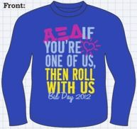 alpha xi delta bid day  (Except on the back of the shirt.)