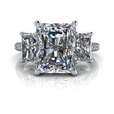 Like the cut Pia Three Stone Engagement Ring Russian Brilliant Radiant Cut – Bel Viaggio Designs, LLC