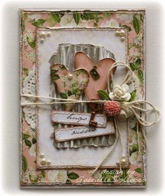 Beautiful shabby chic card with flowers, twine, key charm and pearl embellishments Atc Cards, Card Tags, Paper Cards, 3d Paper, Shabby Chic Colors, Shabby Chic Cards, Pretty Cards, Love Cards, Tarjetas Diy