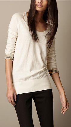 Burberry Brit Check Cuff Cotton Cashmere Sweater