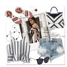 """♡ Striped ♡"" by pavicmartina ❤ liked on Polyvore featuring Dolce&Gabbana, Tory Burch, Chicwish and One Teaspoon"