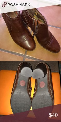 Clarks Artisan Heeled Leather Boots PRICE FIRM Great used condition, some light scuffs. Zipper for easy access. Have been moisturized and cleaned. Clarks Shoes Heeled Boots