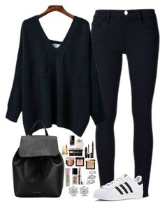 """Untitled #466"" by mariapangal on Polyvore featuring Frame Denim, adidas, Mansur Gavriel, La Mer, Burberry, Laura Mercier, Bobbi Brown Cosmetics, Too Faced Cosmetics, Smith & Cult and Marc Jacobs"