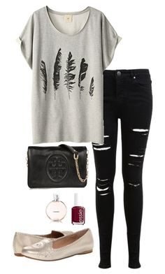 """""""Feather shirt"""" by thepinkcatapillar on Polyvore featuring Miss Selfridge, Tory Burch, Jack Rogers and Essie"""