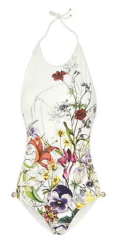 Gucci Floral-Print Backless Swimsuit on Net-a-Porter I love this suit and think it's SO creative and unique. I like how the garden grows from the bottom and the fact that it is backless. It's beautiful artwork and that much more special, in my opinion, because it is a floral design that has such an intriguing history.
