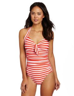 c4d8b027a3 Seafolly Women s Seaview Tie Front Halter Maillot One Piece Swimsuit
