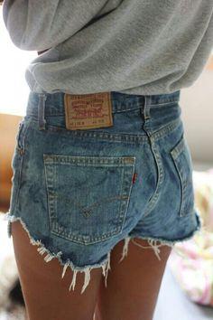 High waisted jean shorts... so cute.