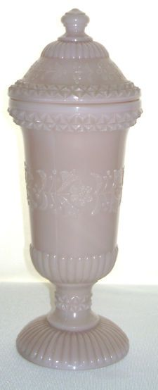Antique Opaque Pink Milk Glass Floral Embossed Apothecary Jar!