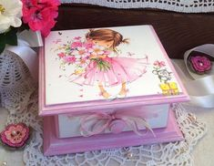 Jewelry box for girls Flower girl Wooden box Girls jewelry box Gift birthday little girl Decoupage box Decoupage Tins, Decoupage Vintage, Girl Box, Bijou Box, Girls Jewelry Box, Jewellery Boxes, Gold Jewellery, Silver Jewelry, Craft Bags