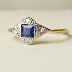 Art Deco Sapphire & Diamond Engagement Ring Antique by luxedeluxe, $328.00