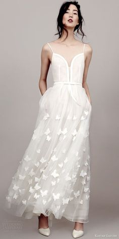 kaviar gauche couture bridal 2015 perfect papillon sleeveless wedding dress spaghetti straps / http://www.deerpearlflowers.com/deep-plunging-v-neck-wedding-dresses/2/