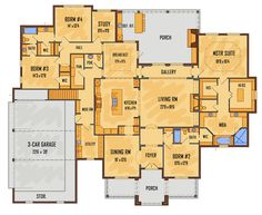 Country European French Country Southern Tudor House Plan 41564 Level One Love this plan but change front elevation roof lines. Best House Plans, Dream House Plans, House Floor Plans, 6 Bedroom House Plans, The Plan, How To Plan, Tudor House, Building Plans, Building A House