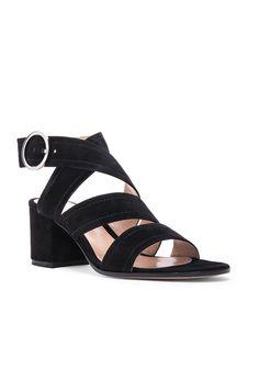 Suede Chunky Heel Strap Sandal