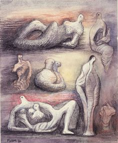 <p>Henry Moore, Ideas for Sculpture with Mother and Child, 1980</p>