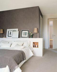 schlafzimmergestaltung doppelbett eingebautes fach stauraum