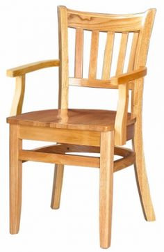 Premium Vertical Slat Wood Chair with Arms - Made in the USA